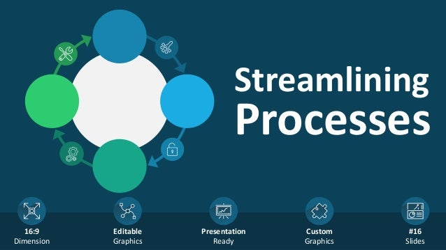 Streamlining Processes 16:9 Dimension Editable Graphics Presentation Ready Custom Graphics #16 Slides