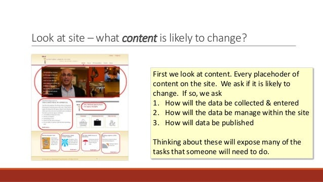 Look at site – what content is likely to change? • Collection • Management • Publishing First we look at content. Every pl...