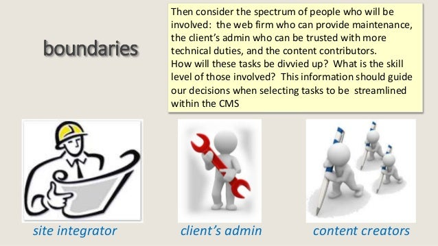 boundaries site integrator client's admin content creators Then consider the spectrum of people who will be involved: the ...