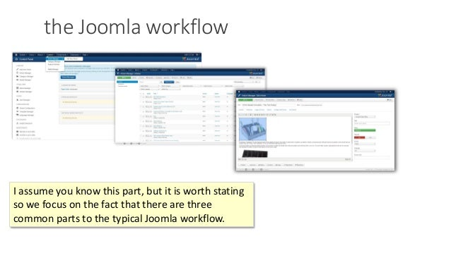 the Joomla workflow I assume you know this part, but it is worth stating so we focus on the fact that there are three comm...