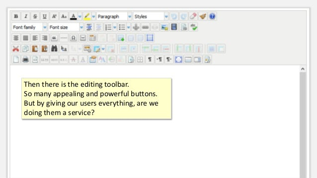 Then there is the editing toolbar. So many appealing and powerful buttons. But by giving our users everything, are we doin...