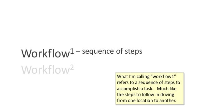 """Workflow1 – sequence of steps Workflow2 What I'm calling """"workflow1"""" refers to a sequence of steps to accomplish a task. M..."""