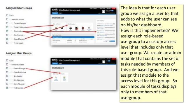 The idea is that for each user group we assign a user to, that adds to what the user can see on his/her dashboard. How is ...