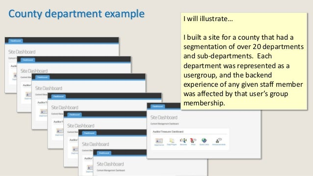 County department example I will illustrate… I built a site for a county that had a segmentation of over 20 departments an...