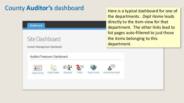 County Auditor's dashboard Here is a typical dashboard for one of the departments. Dept Home leads directly to the item vi...