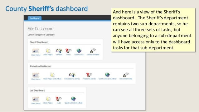 County Sheriff's dashboard And here is a view of the Sheriff's dashboard. The Sheriff's department contains two sub-depart...
