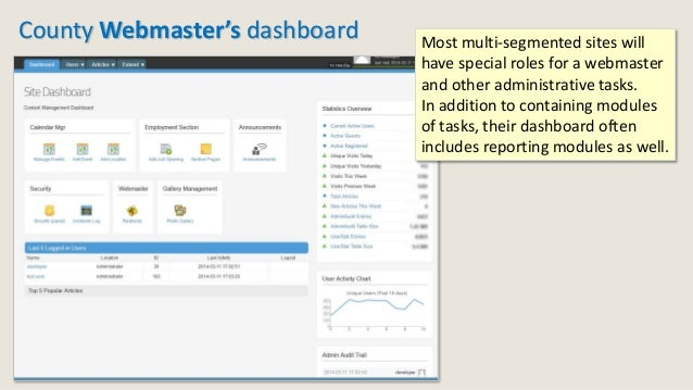 County Webmaster's dashboard Most multi-segmented sites will have special roles for a webmaster and other administrative t...