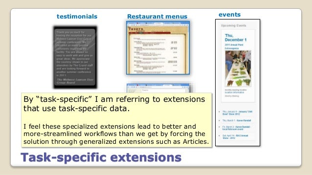"""Task-specific extensions eventsRestaurant menustestimonials specialized inventory listing By """"task-specific"""" I am referrin..."""