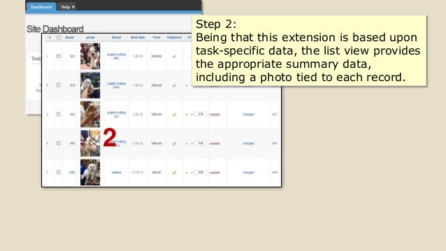 2 Step 2: Being that this extension is based upon task-specific data, the list view provides the appropriate summary data,...