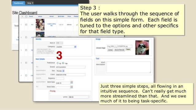 3 Step 3 : The user walks through the sequence of fields on this simple form. Each field is tuned to the options and other...