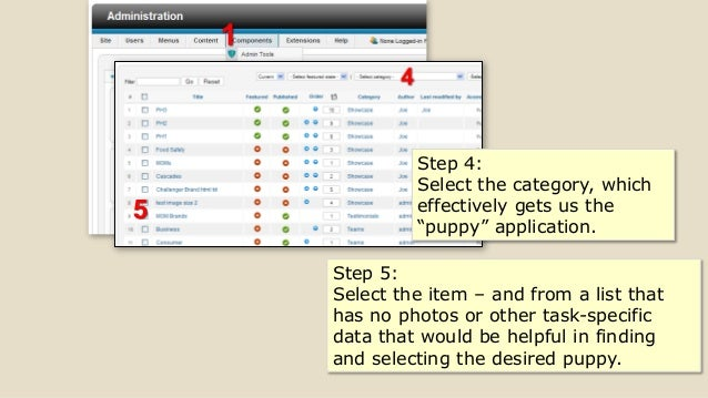 """5 Step 4: Select the category, which effectively gets us the """"puppy"""" application. Step 5: Select the item – and from a lis..."""