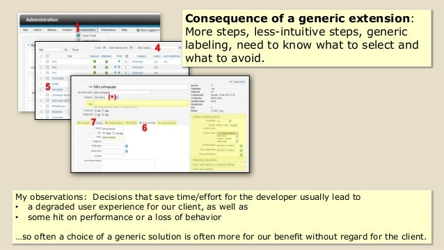 5 Consequence of a generic extension: More steps, less-intuitive steps, generic labeling, need to know what to select and ...