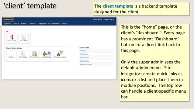 """'client' template The client template is a backend template designed for the client. This is the """"home"""" page, or the clien..."""