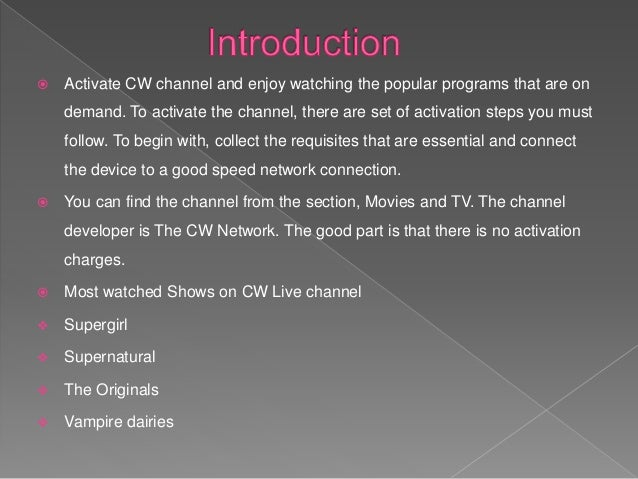 Stream live CW Channel
