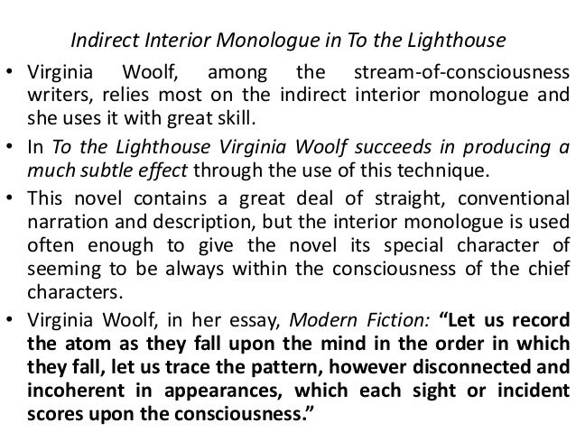Stream Of Consciousness In Virginia Woolf S To The Lighthouse 14 Indirect Interior  Monologue In To
