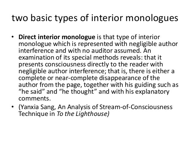 8. Two Basic Types Of Interior Monologues ...