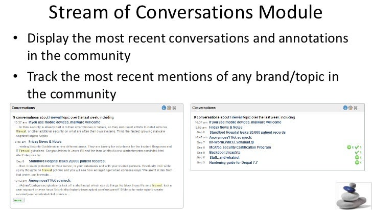 Stream of Conversations Module<br />Display the most recent conversations and annotations in the community<br />Track the ...