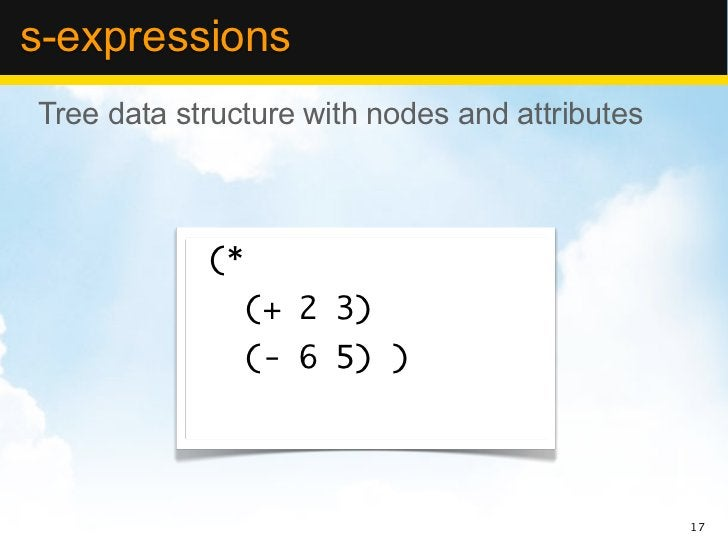 s-expressionsTree data structure with nodes and attributes            (*                 (+ 2 3)                 (- 6 5) )...