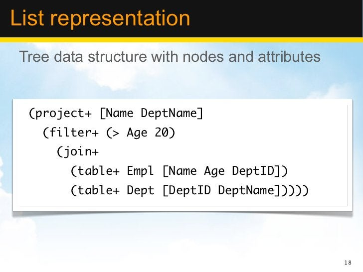 List representationTree data structure with nodes and attributes (project+ [Name DeptName]   (filter+ (> Age 20)     (join...
