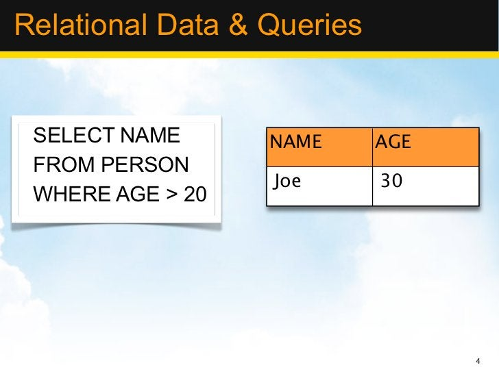 Relational Data & Queries SELECT NAME      NAME      AGE FROM PERSON                  Joe       30 WHERE AGE > 20         ...