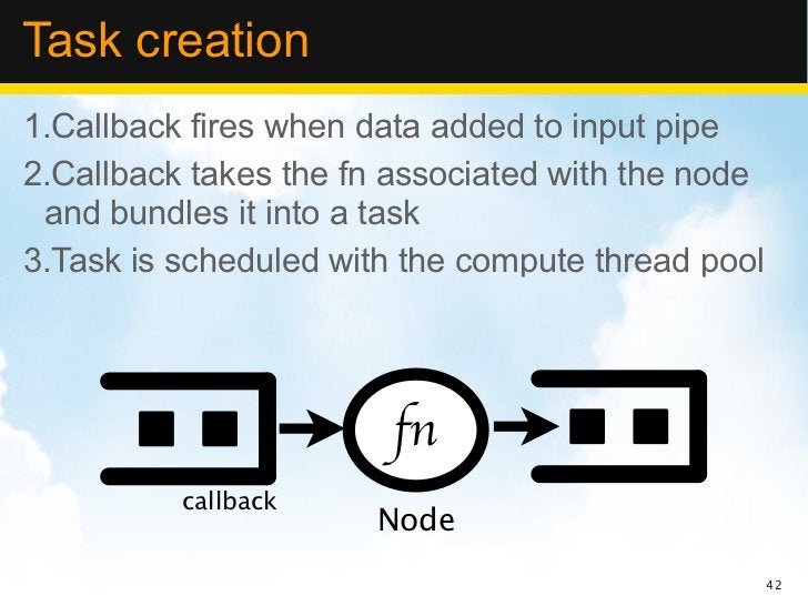 Task creation1.Callback fires when data added to input pipe2.Callback takes the fn associated with the node and bundles it...