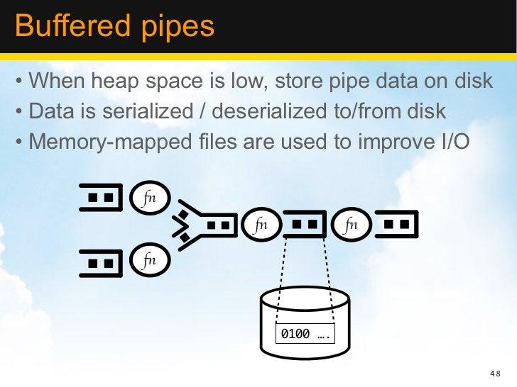Buffered pipes• When heap space is low, store pipe data on disk• Data is serialized / deserialized to/from disk• Memory-ma...