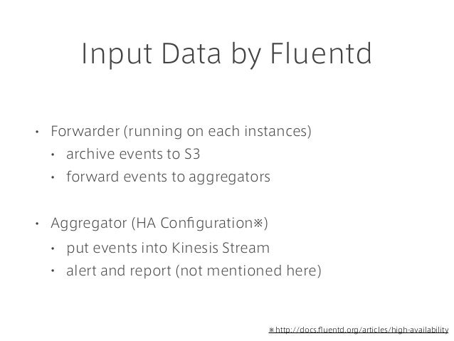 Input Data by Fluentd • Forwarder (running on each instances) • archive events to S3 • forward events to aggregators • Agg...