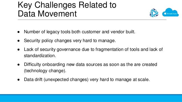 Key Challenges Related to Data Movement ● Number of legacy tools both customer and vendor built. ● Security policy changes...