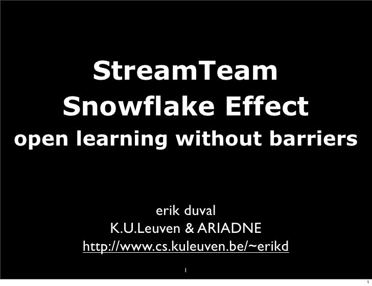 StreamTeam     Snowflake Effect open learning without barriers                     erik duval            K.U.Leuven & ARIA...