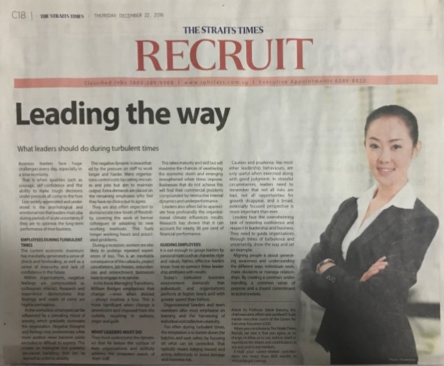 ST Recruit Article on 'Leading the Way' - 22 Dec 2016