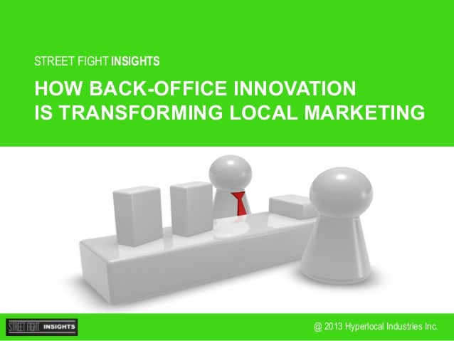 STREET FIGHT INSIGHTS  HOW BACK-OFFICE INNOVATION IS TRANSFORMING LOCAL MARKETING  @ 2013 Hyperlocal Industries Inc.