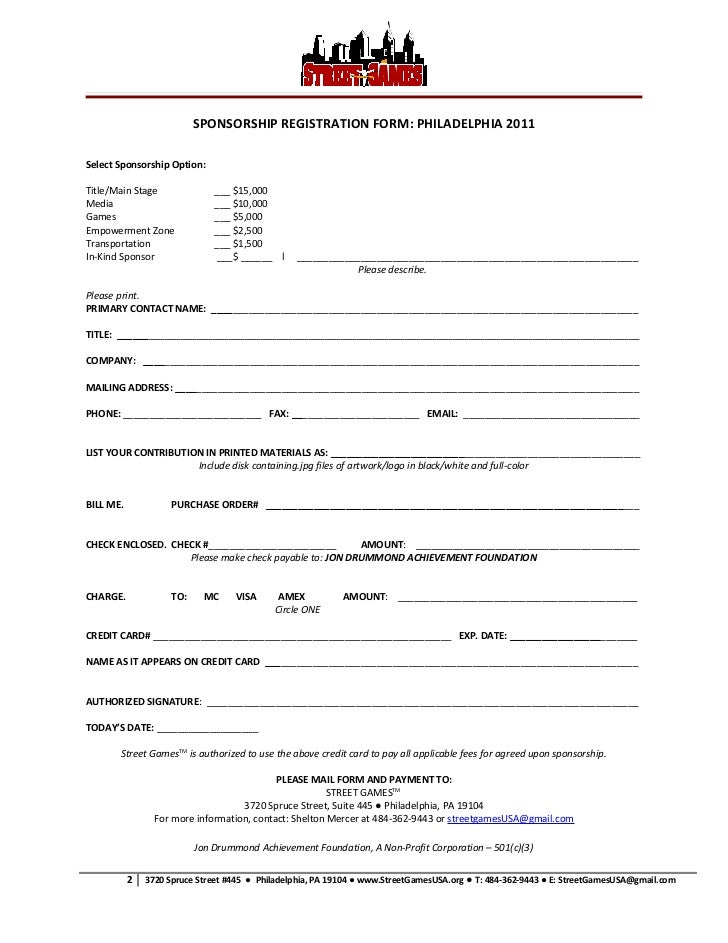 Street games 2011 sponsor forms download – How to Make a Sponsor Form