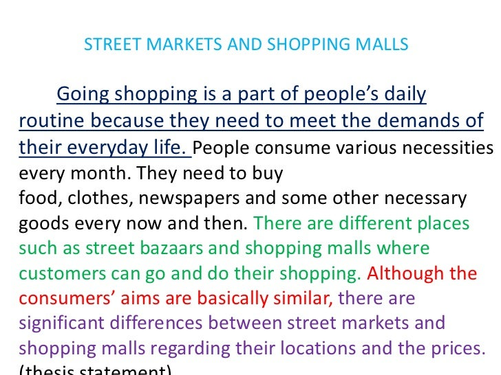 STREET MARKETS AND SHOPPING MALLS<br />Goingshopping is a part of people'sdailyroutinebecausetheyneedtomeetthedemands of t...