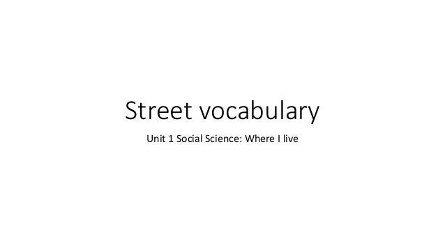 Street vocabulary Unit 1 Social Science: Where I live