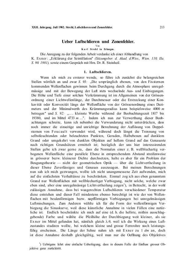 XXII. Jahrgang. Jull 1902. Strehl, Lufschlieren und Zonenfehler. 213 Ueber Luftschlieren und Zonenfehler. Von K a r l Stre...