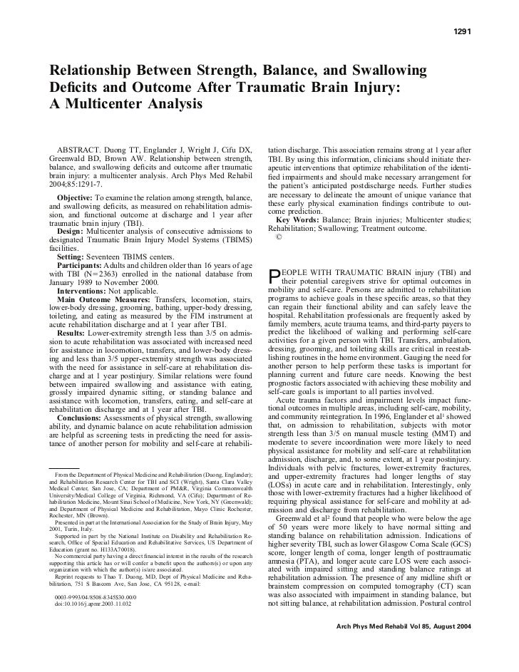 1291Relationship Between Strength, Balance, and SwallowingDeficits and Outcome After Traumatic Brain Injury:A Multicenter A...