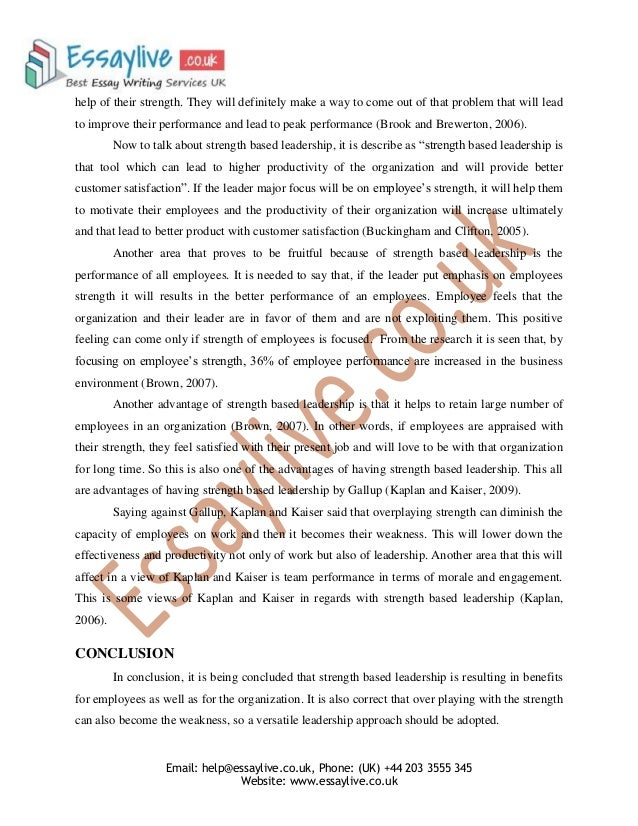 strength based leadership essay sample