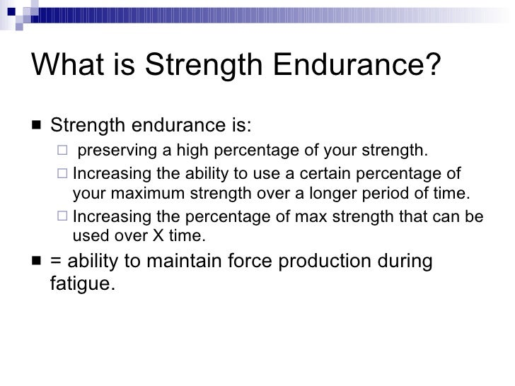 Strength Endurance Training
