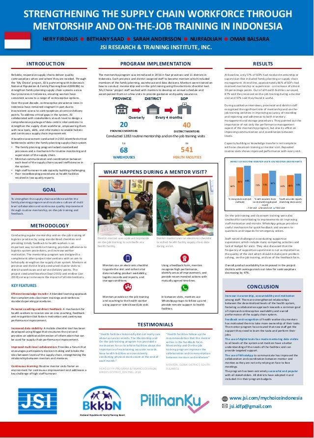 STRENGTHENING THE SUPPLY CHAIN WORKFORCE THROUGH MENTORSHIP AND ON-THE-JOB TRAINING IN INDONESIA INTRODUCTION Reliable, re...