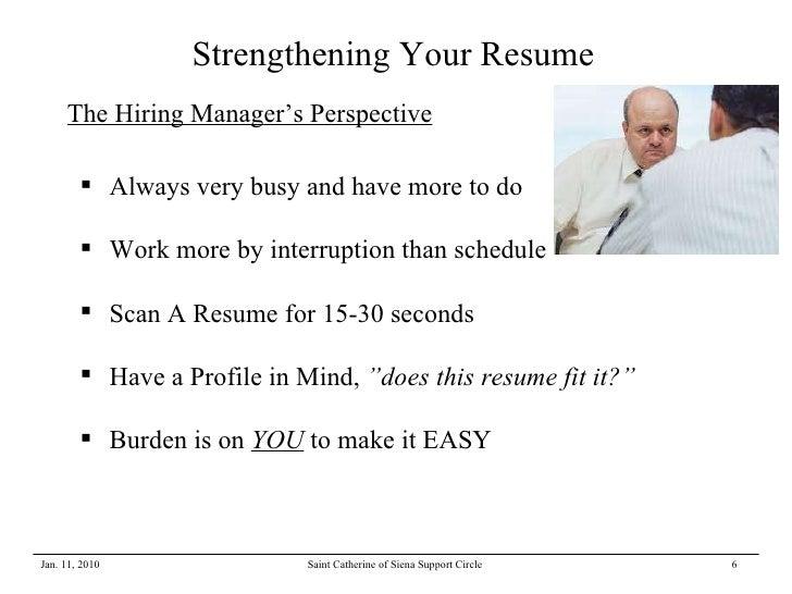 Strengthening Your Resume Jan 2010