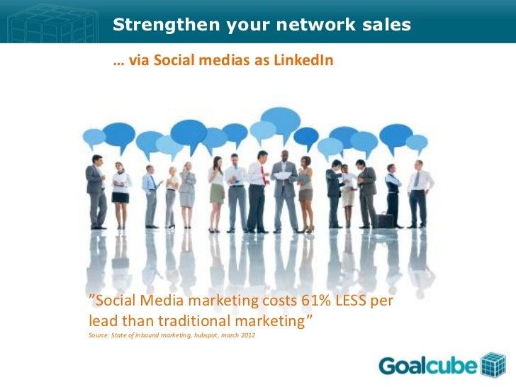 "Strengthen your network sales       … via Social medias as LinkedIn""Social Media marketing costs 61% LESS perlead than tra..."