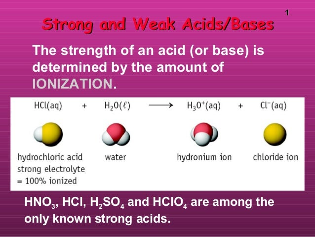 11 HNO3, HCl, H2SO4 and HClO4 are among the only known strong acids. Strong and Weak Acids/BasesStrong and Weak Acids/Base...