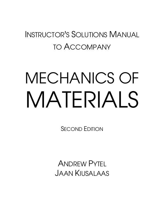 mechanics of materials pytel solutions manual