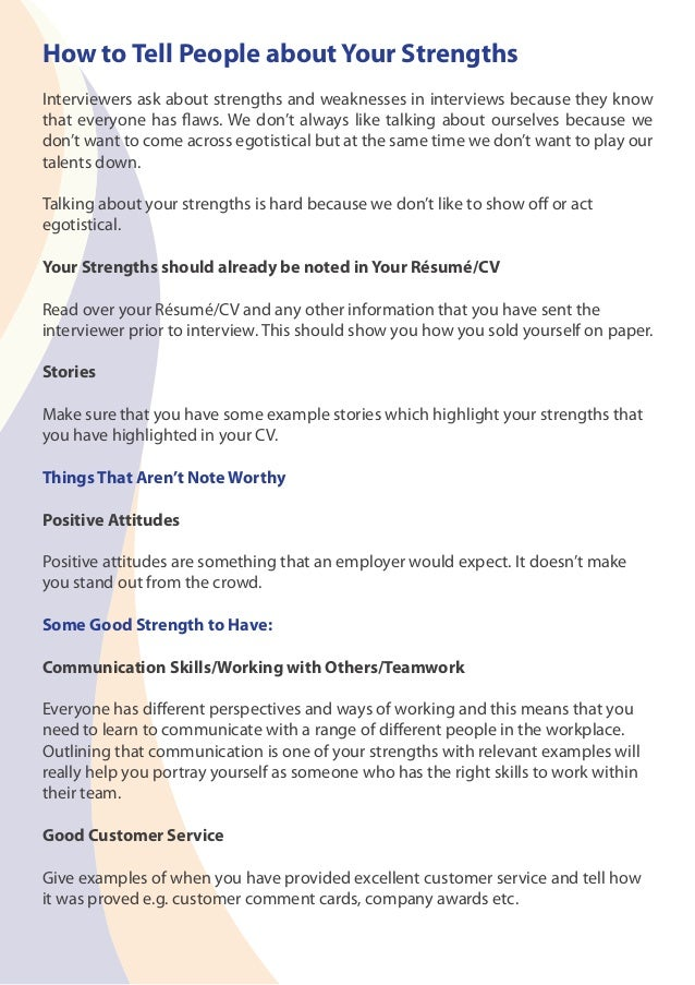 Strengths to mention in resume