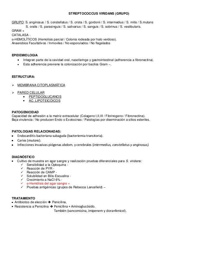 STREPTOCOCCUS VIRIDANS (GRUPO) GRUPO: S. anginosus / S. constellatus / S. crista / S. gordonii / S. intermedius / S. mitis...