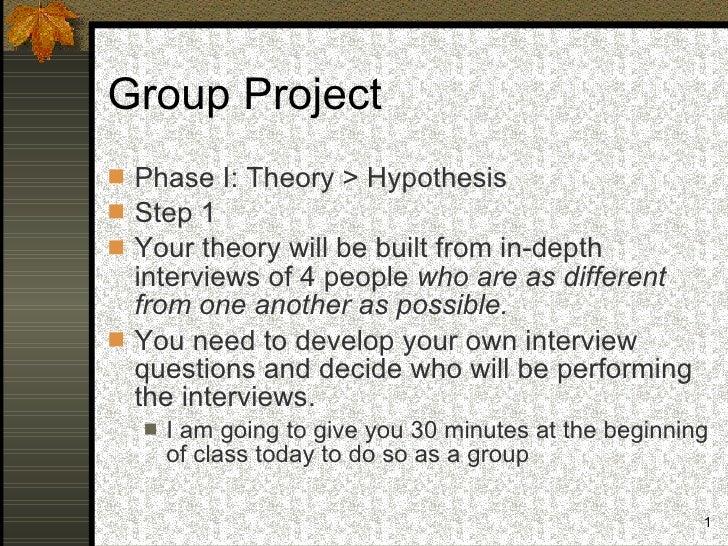 Group Project <ul><li>Phase I: Theory > Hypothesis </li></ul><ul><li>Step 1 </li></ul><ul><li>Your theory will be built fr...