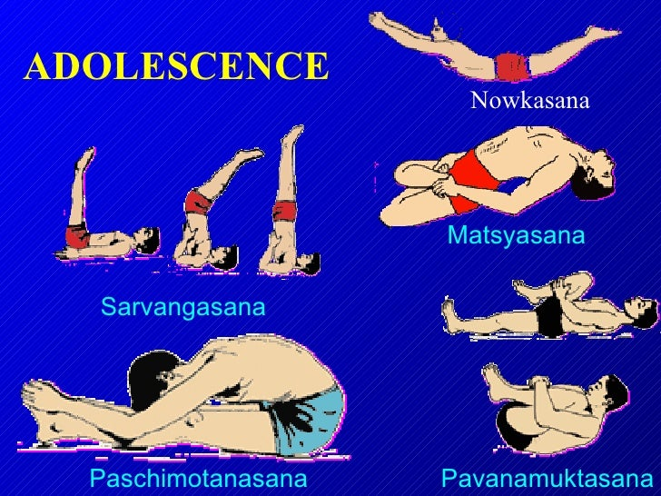 ADOLESCENCE  Pavanamuktasana Paschimotanasana Sarvangasana Matsyasana Nowkasana