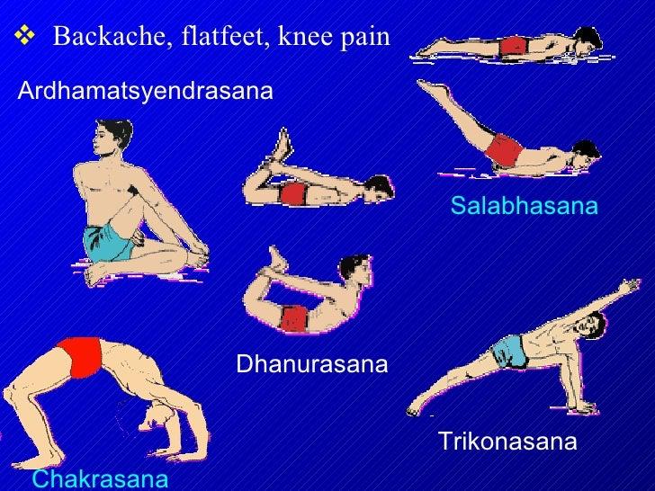 <ul><li>Backache, flatfeet, knee pain </li></ul>Chakrasana Salabhasana Ardhamatsyendrasana Dhanurasana Trikonasana