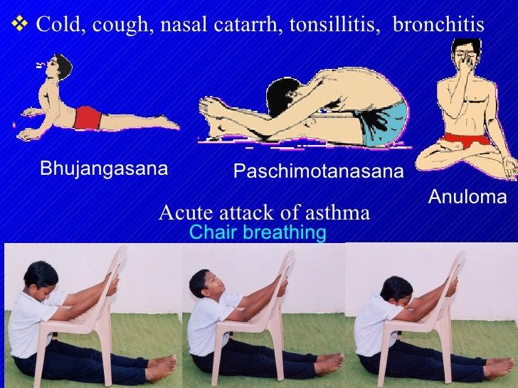 <ul><li>Cold, cough, nasal catarrh, tonsillitis,  bronchitis </li></ul>Chair breathing Bhujangasana Paschimotanasana Anulo...