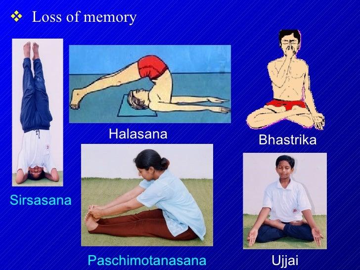 <ul><li>Loss of memory </li></ul>Paschimotanasana Sirsasana Halasana Bhastrika Ujjai